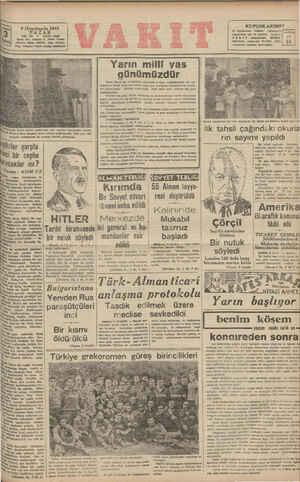 "9 ""u'ncitczın'n 1941 PAZAR YIL: 38 *  SAYI: 8548 Kânre evi: Ankara C, Vakıt Yurdu Telrfon: İdare (M4370), Yazı (21415)..."