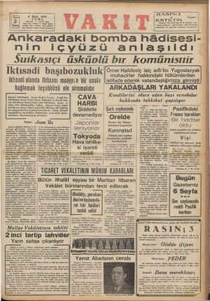 Büysi 6 Mart 1942 Ni CUMA 3 YIL:25 * SAYI: 8658 Edare evi: Ankara C. Vakıt Yurün Kuruş Teleton: İdare (24870), Yazı...