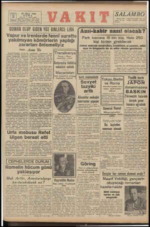 20 Mart 1942 CUMA YIL: 325 * idare evli Ankara BAYI : 8672 © Vakıt Yurda Kurus Telefon; İdare (24870), Yazı (*1418) Telig: