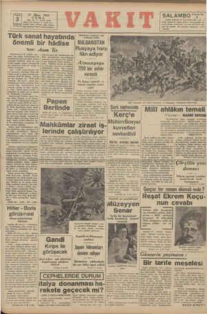 Ü 27 Mart PrSiam 3 Kurus Pelgi İstanbul Vakıt—Posta kutnsu 44 Türk sanat hayatında)| İdare evi: Ankara 1942 CUMA YIL: 25 *