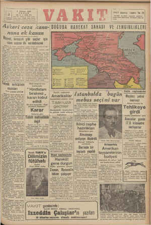 Z - — — K İ 9 Ağustos 1942 | geee ( t ı VAKIT Gezintisi Kuponu No, 25 | YIL: 28 & SAYI: 8791 Movslmün sengin — prograi...