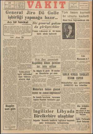 K osa 'GArE #YİİVAKIT Yardı Posta Kütüsü: at in Delg VAKIT letanbi 24370 (Tdare) (l!lll (Yam, 29 Birinc:kâLcun 1942 SALI YIL