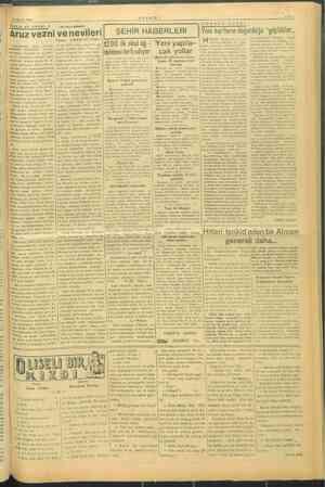 216 Ağustos 1944 Vezin ve şiir Meselesi: 4 « is Ahm, mma m ma , ; AHIR GUVEMLİ | zan: Umumiyetle vezin hec ir Türk arüzu