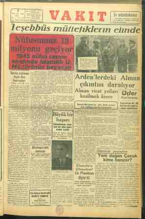 """"""" VAKIT Yurdu'N İdare evi (Ankara cad. OCAK 1945 Posta Kutusu: İst. SALI Telg. SD nb n re) 8 * SAYI; ge: $ Telefon e )..."""