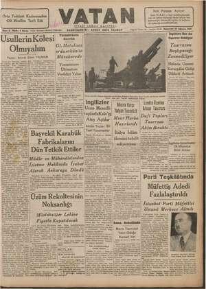 Vatan Gazetesi 4 Ağustos 1940 kapağı