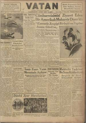 Vatan Gazetesi 19 Ağustos 1940 kapağı