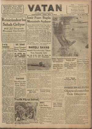 Vatan Gazetesi 20 Ağustos 1940 kapağı