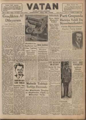 Vatan Gazetesi 22 Ağustos 1940 kapağı