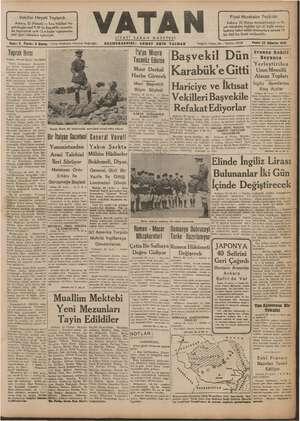 Vatan Gazetesi 23 Ağustos 1940 kapağı