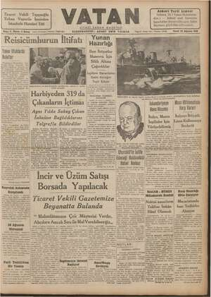 Vatan Gazetesi 25 Ağustos 1940 kapağı