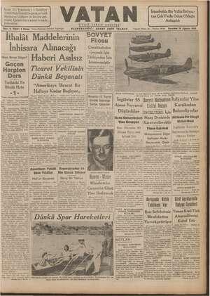 Vatan Gazetesi 26 Ağustos 1940 kapağı