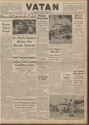 Vatan Gazetesi 27 Ağustos 1940 kapağı