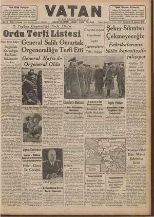 Vatan Gazetesi 29 Ağustos 1940 kapağı