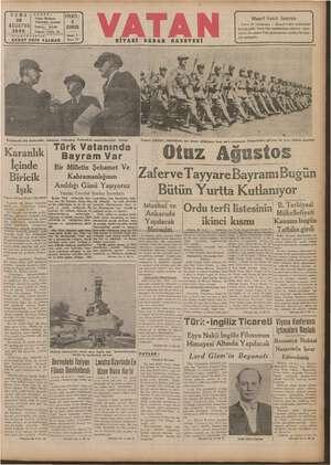 Vatan Gazetesi 30 Ağustos 1940 kapağı