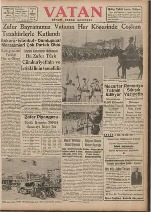 Zafer Bayramımız Vatanın Her Köşesinde Coşkun Tezahürlerle Kutlandı Ankara -istanbul - Dumlupınar Merasimleri Çok Parlak Oldu | Bi ızljğî_r_rşli_zinı İstanbül Komutanının Nütkündan :