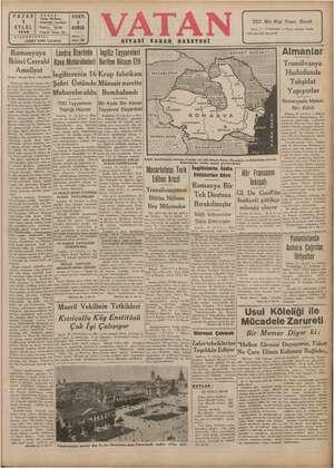 Vatan Gazetesi 1 Eylül 1940 kapağı