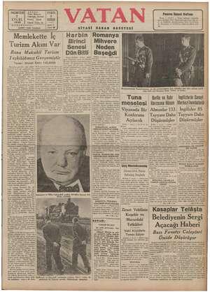 Vatan Gazetesi 2 Eylül 1940 kapağı