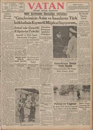 Vatan Gazetesi 3 Eylül 1940 kapağı