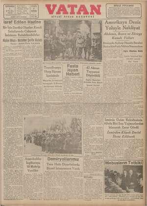 Vatan Gazetesi 4 Eylül 1940 kapağı