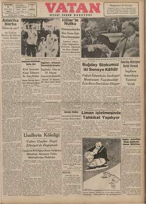 Vatan Gazetesi 5 Eylül 1940 kapağı