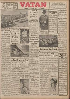 Vatan Gazetesi 6 Eylül 1940 kapağı