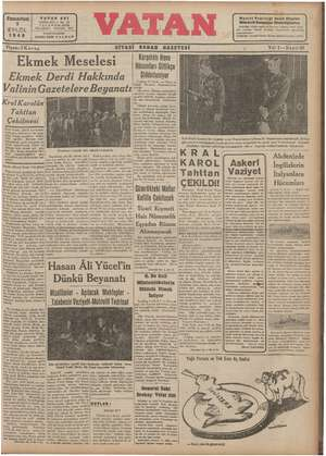 Vatan Gazetesi 7 Eylül 1940 kapağı