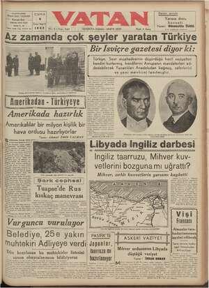 """Az zamanda çok şeyler yaralan İurkiye """" puya Bir İsviçre gazetesi diyor ki: ———————_———Ğ Türkiye, Sevr muahedesinin düşürdüğü hacil vaziyetten   kendini kurtarmış, kendilerini Avrupanın mandaterleri ad- k dedebilecek Yunanlıları Anadoludan koğmuş, zaferlerini ve yeni mevkiini tanıtmıştır. &"""