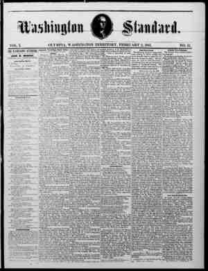 The Washington Standard Gazetesi 2 Şubat 1861 kapağı
