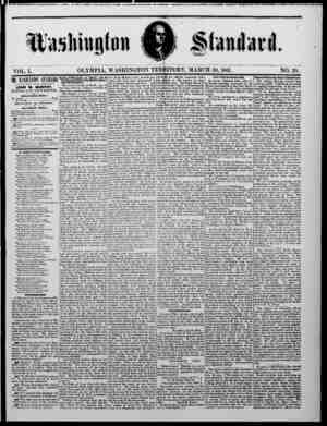 The Washington Standard Gazetesi 30 Mart 1861 kapağı