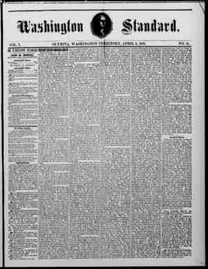 The Washington Standard Gazetesi 6 Nisan 1861 kapağı
