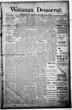 Watauga Democrat Gazetesi 29 Ağustos 1888 kapağı