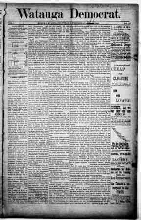 Watauga Democrat Gazetesi 5 Eylül 1888 kapağı