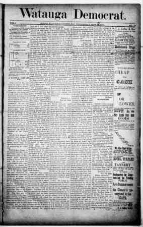 Watauga Democrat Gazetesi 12 Eylül 1888 kapağı