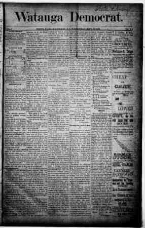 Watauga Democrat Gazetesi 19 Eylül 1888 kapağı