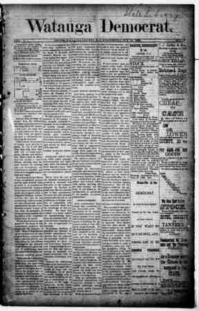 Watauga Democrat Gazetesi 10 Ekim 1888 kapağı