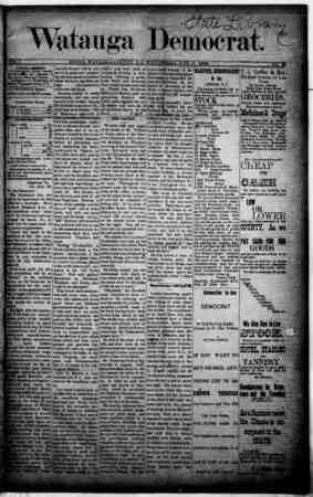 Watauga Democrat Gazetesi 7 Kasım 1888 kapağı