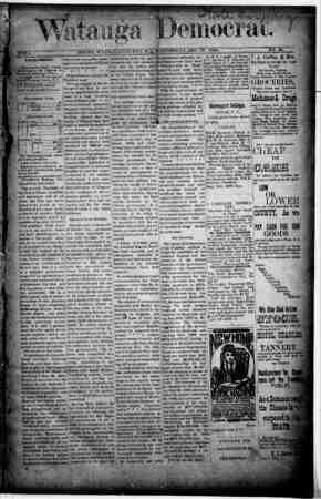 Watauga Democrat Gazetesi 19 Aralık 1888 kapağı