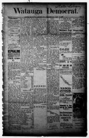 Watauga Democrat Gazetesi 2 Ocak 1889 kapağı