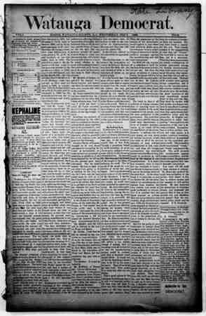 Watauga Democrat Gazetesi 6 Şubat 1889 kapağı