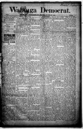 Watauga Democrat Gazetesi 13 Şubat 1889 kapağı