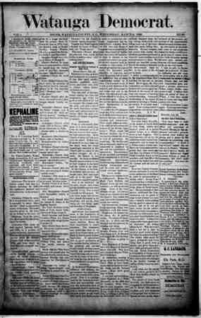 Watauga Democrat Gazetesi 6 Mart 1889 kapağı