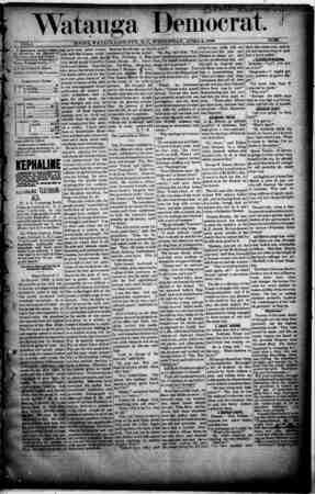 Watauga Democrat Gazetesi 3 Nisan 1889 kapağı