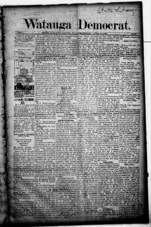 Watauga Democrat Gazetesi 10 Nisan 1889 kapağı
