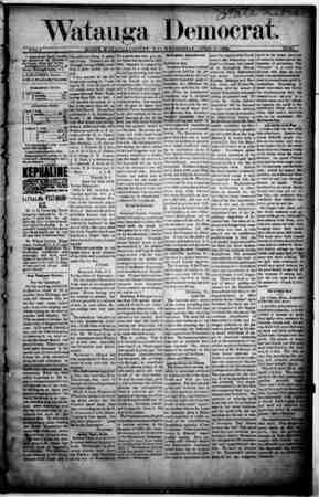 Watauga Democrat Gazetesi 17 Nisan 1889 kapağı