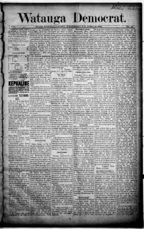 Watauga Democrat Gazetesi 24 Nisan 1889 kapağı