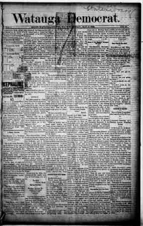 Watauga Democrat Gazetesi 8 Mayıs 1889 kapağı