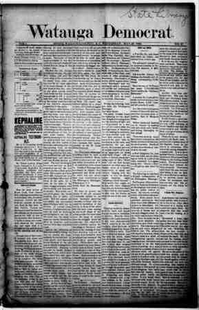 Watauga Democrat Gazetesi 29 Mayıs 1889 kapağı
