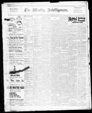 The Weekly Intelligencer Gazetesi 24 Ekim 1891 kapağı