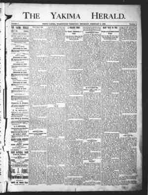 Yakima Herald Gazetesi 7 Şubat 1889 kapağı