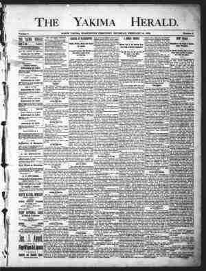 Yakima Herald Gazetesi 14 Şubat 1889 kapağı